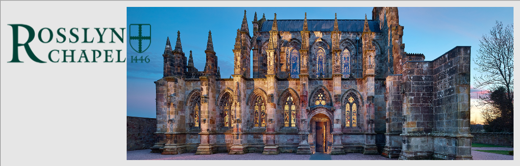 copyright logo & image reproduced with kind permission of Rosslyn Chapel Trust and Vic Sharp Photography